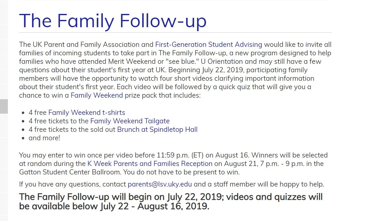 University of Kentucky Parent Programming