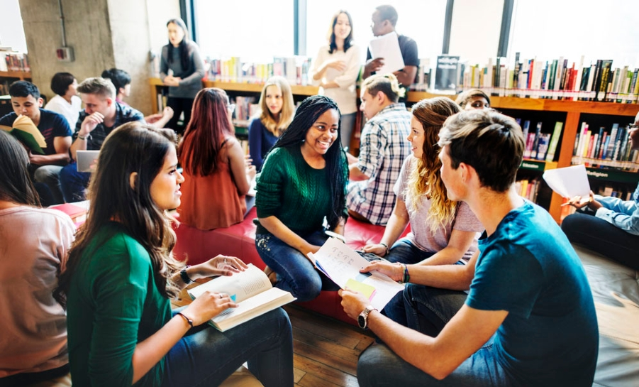 group of students reading circle
