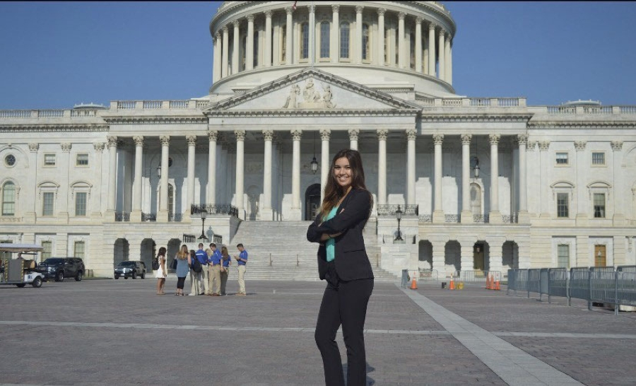 Intern in front of Capitol