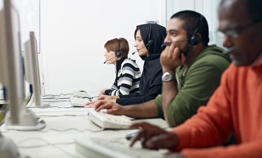 group of students with headsets